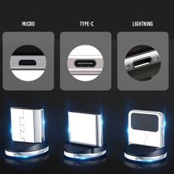 Cable Magnetico USB a Micro USB/USB-C/Lightning (Negro) XO